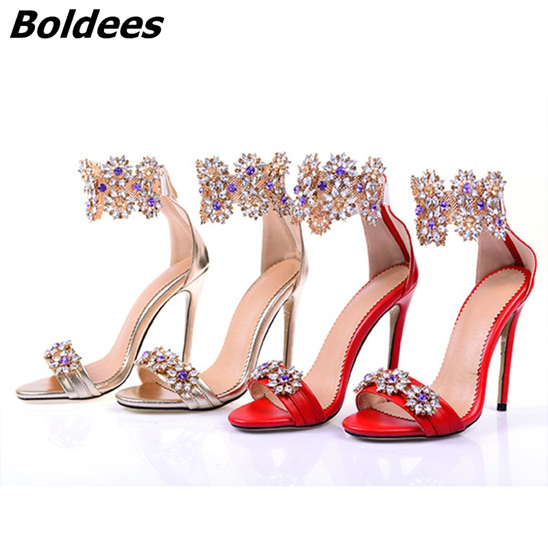 a39c1cd5c601 Unique Glittering Crystal Stiletto Heels Dress Sandals Women Shiny Open Toe  Back Zip Sandals Fashion Shoes New Arrival Celebrity-in High Heels from  Shoes on ...