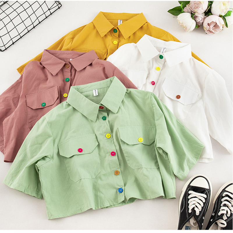 Sweet Color Button Shirt Female Short-sleeve Korean Summer Turn-down Collar Tops Casual Women Single-breasted Short Style Shirts