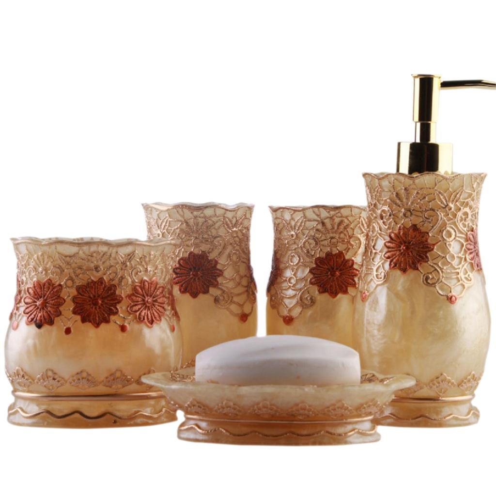 Homestia gold silver luxury floral lace bathroom for Floral bath accessories
