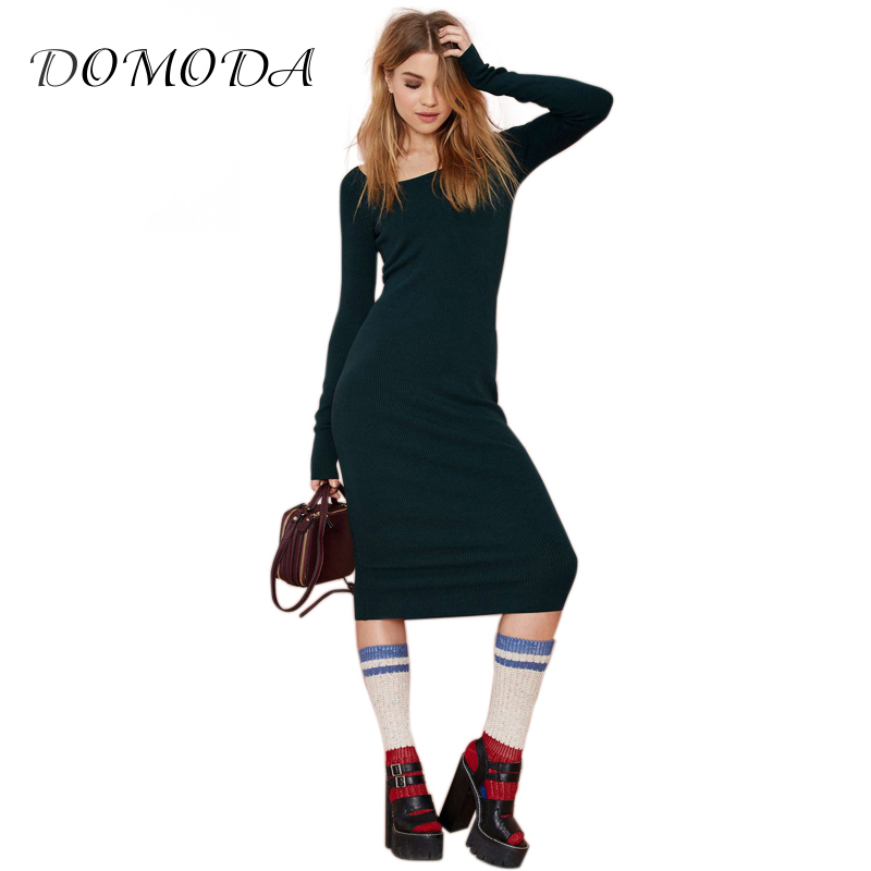 DOMODA Women Sweater Knitted Dress 2017 Autumn Winter Vestido Round Neck Long Sleeve Casual One Pieces Solid Color Slim stylish round neck long sleeve stereo flower embellished knitted dress for women