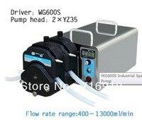 WG600S 2xYZ35 Pump head PPS Speed Variable Industrial Electric Peristaltic Doing Pump Water Fluid Liquid Pumps 400~13000 ml/min
