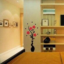Decoración para el hogar DIY Árbol de La Flor Florero de Cristal Arcylic 3D Pegatinas Etiqueta de La Pared vinilos paredes poster etiqueta de la pared para habitaciones de niños