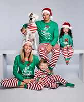 2018 New Christmas Pajamas Set Family Matching Outfits Green Striped Pyjamas Set Sleepwear Nightwear Xmas Baby Romper