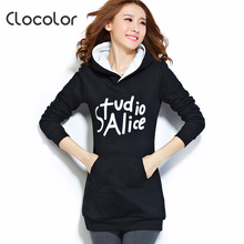 Clocolor Autumn Winter Warm Hoodies for Women Letter Printed Hooded Sweatshirt Full Sleeve Long Women Casual