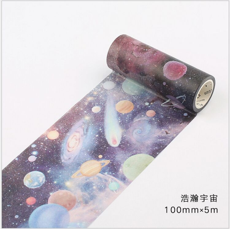 100mm Wide Vast Universe Starry Sky Planet Stars Decoration Washi Tape DIY Planner Scrapbooking Diary Masking Tape Escolar