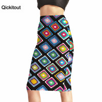 Qickitout Skirts 2016 Trending Style Women S Sexy 3D Print Skirts High Waist Diamond Colored Squares