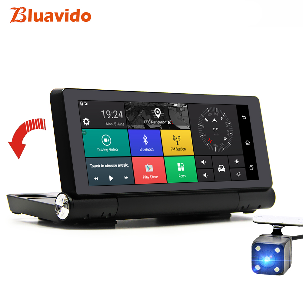 Bluavido 7 Inch 4G Car DVR Camera GPS Android Navigation ADAS Full HD 1080P Video Recorder