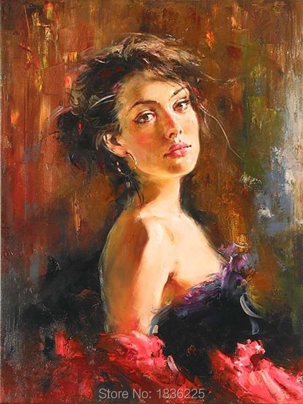 Handmade Women Oil Painting On Canvas Spanish Dancer -8885