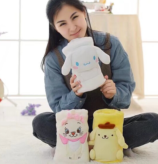 Plush roll blanket 1pc 95cm Pom Pom Purin Cinnamoroll dog Marie Cat soft flannel office rest toy novelty gift for kids baby marie cat сумочка marie cat