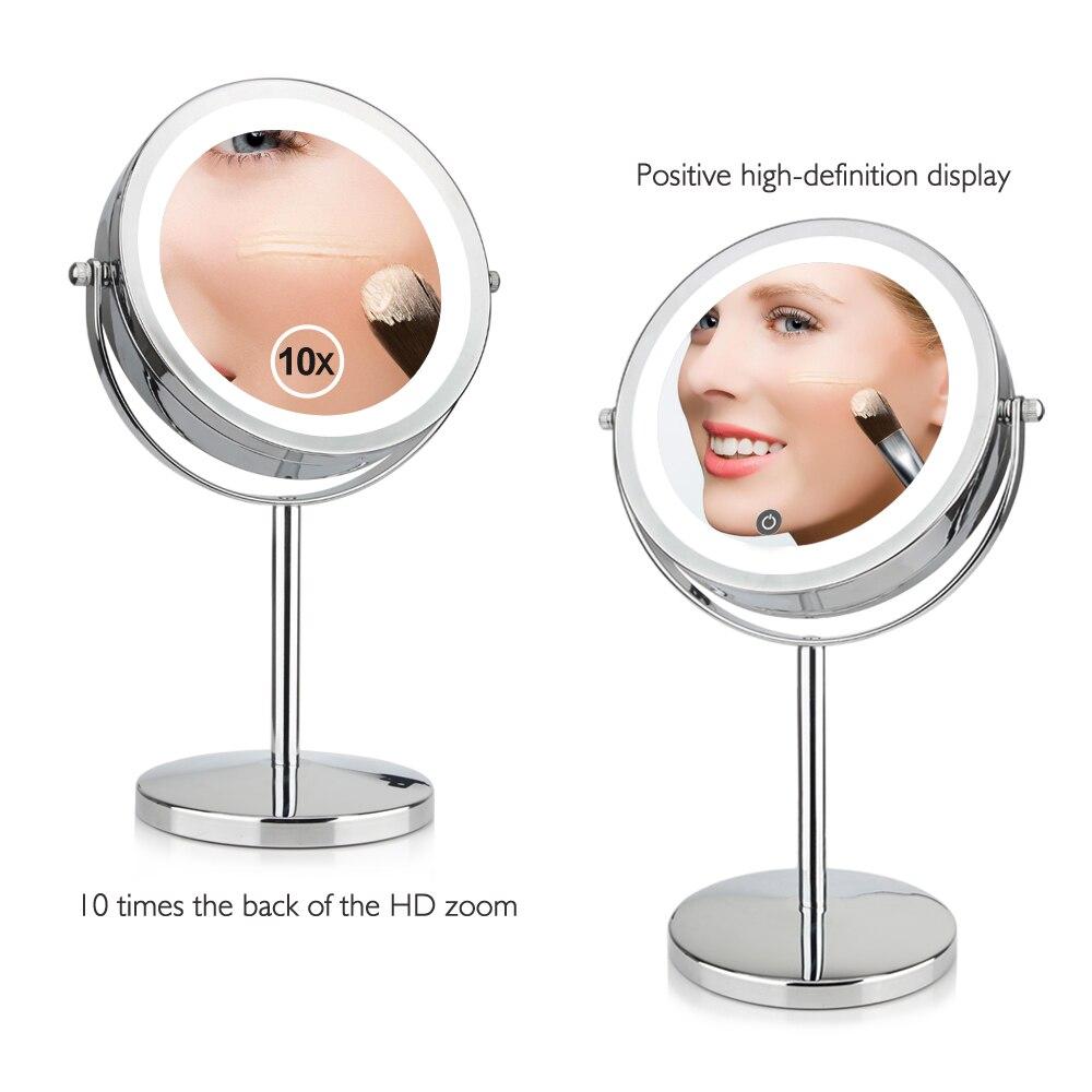 7 Pouce 10x Grossissement Circulaire Miroir de Maquillage Double 2 Face Forme Ronde 17 Led Tournante Cosmétique Miroir Stand Loupe Miroir