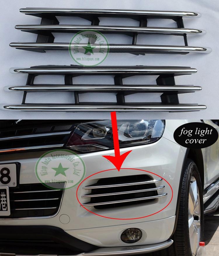 VW Touareg fog font b light b font lamp chrome decoration cover trim left right 2PCS