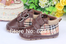 BX113 Top Fashion Brown Plaid Gift Footwear Casual Newborn Baby First Walker Shoe Toddler Baby Boys Infant