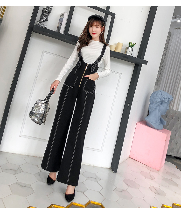 Pengpious winter new flare pants with zipper pockets and knit sweater long sleeves two pieces set fashion women 9