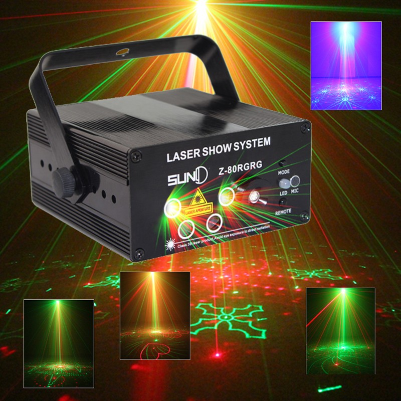 SUNY Remote 5 Lens 80 Pattern RG Mini Led Laser Projector 3W Blue Light Effect Show For DJ Disco Party Lights led laser stage lighting 5 lens 80 patterns rg mini led laser projector 3w blue light effect show for dj disco party lights