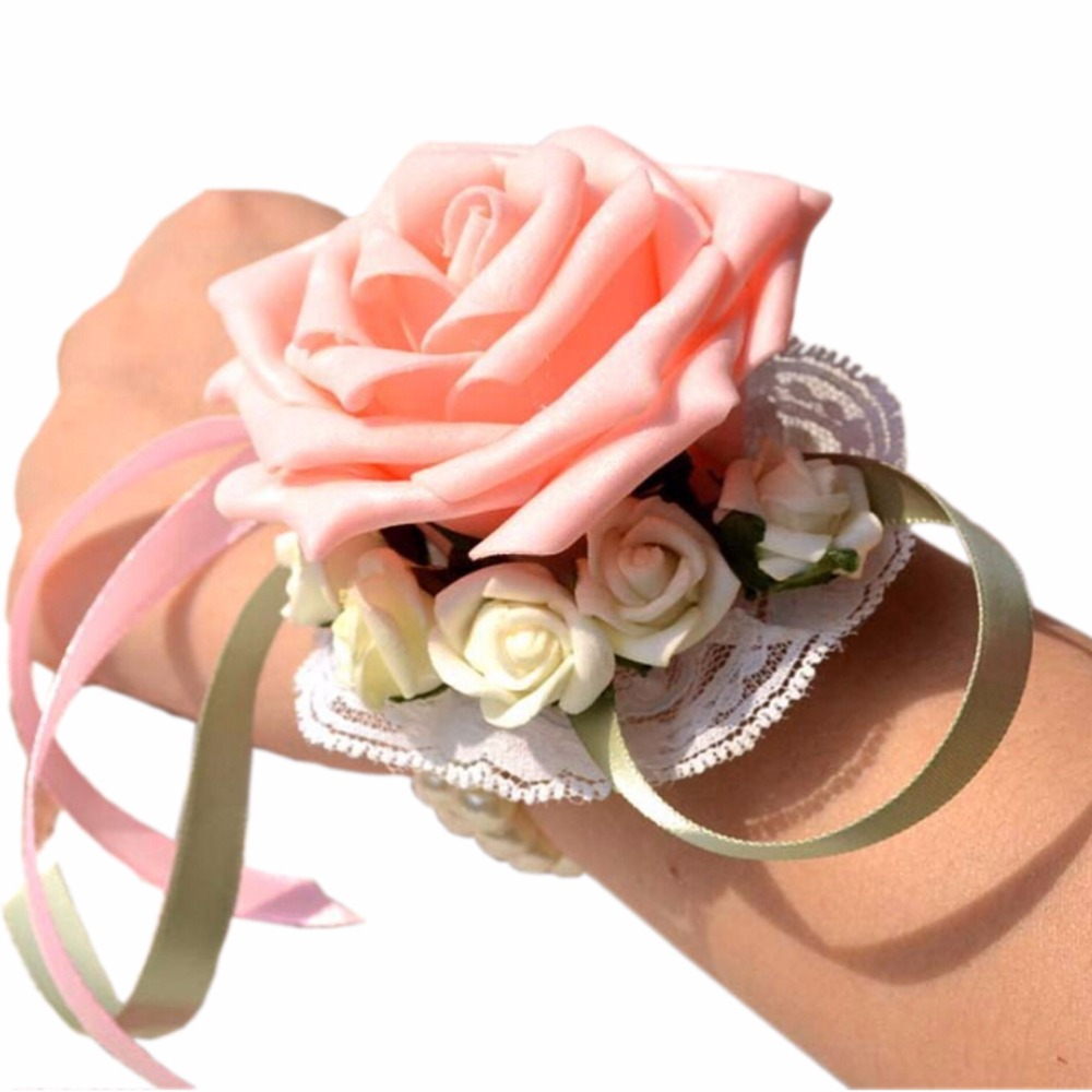Wedding Pearl Stretch Bracelet Wrist Corsage With For Prom Party 1