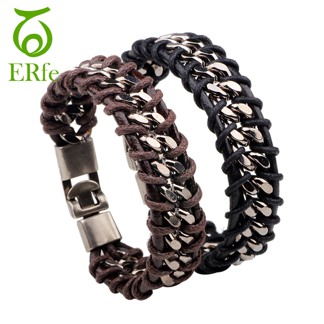 Er Men Punk Black Wax Rope Chain Bracelet Male Rock Stainless Steel Braided Leather Braclet Hand