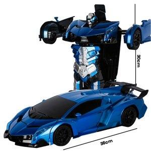 Image 3 - 2.4G Induction déformation RC voitures Transformation Robot voiture jouet lumière Robot électrique modèles jouets pour enfants cadeaux