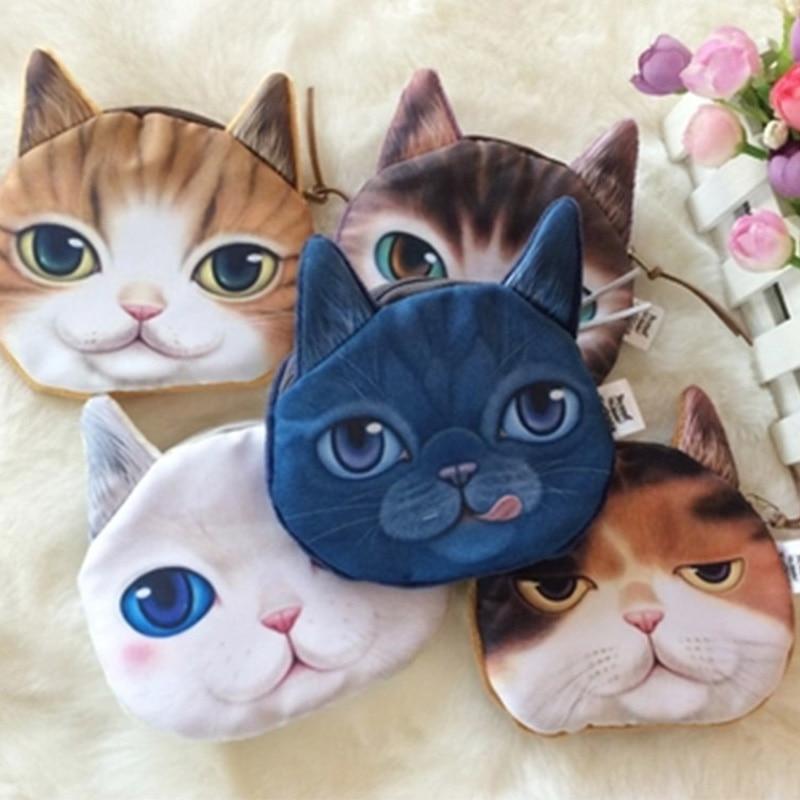 YOUYOU MOUSE Fashion Cat Face Women Coin Purse Wallet Creative Design Card Holder Wallets Cotton Women's Money Bag Key Purses