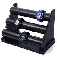 Barra de T negro Tres Cubiertas de Reloj Removible Holder Jewelry Display Rack