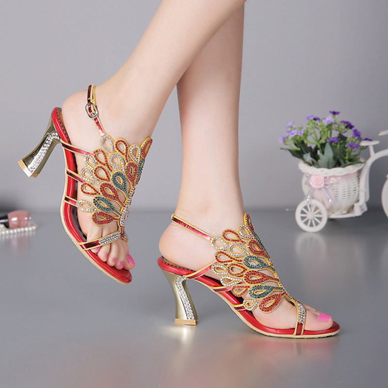 Women Banquet Prom Party Shoes Summer Rhinestone Sandals Open Toe Chunky Heel Strappy Wedding Shoes for Bride Red Black Color aidocrystal women gold yellow crystal rhinestone diamond open toe high heel pump wedding shoes for bride girl formal dress shoes