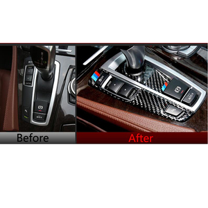 Для BMW F10 F01 F25 F26 внутренняя отделка из углеродного волокна переключения передач Панель управления наклейка для автомобиля Стайлинг 5 7 СЕРИЯ ...