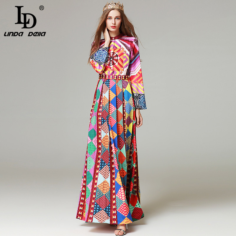 High Quality New 2017 Autumn Fashion Runway Maxi Dresses Women's Long Sleeve Printed Tribe Vintage Long Dress ilismaba new ladies fashion sexy autumn long sleeved brand dresses high quality printed knitted elastic fabric women s dress