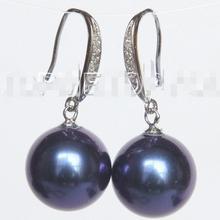 > Висячие 14 мм круглые темно-синие Южно-морские серьги с жемчугом из раковин 925 серебро