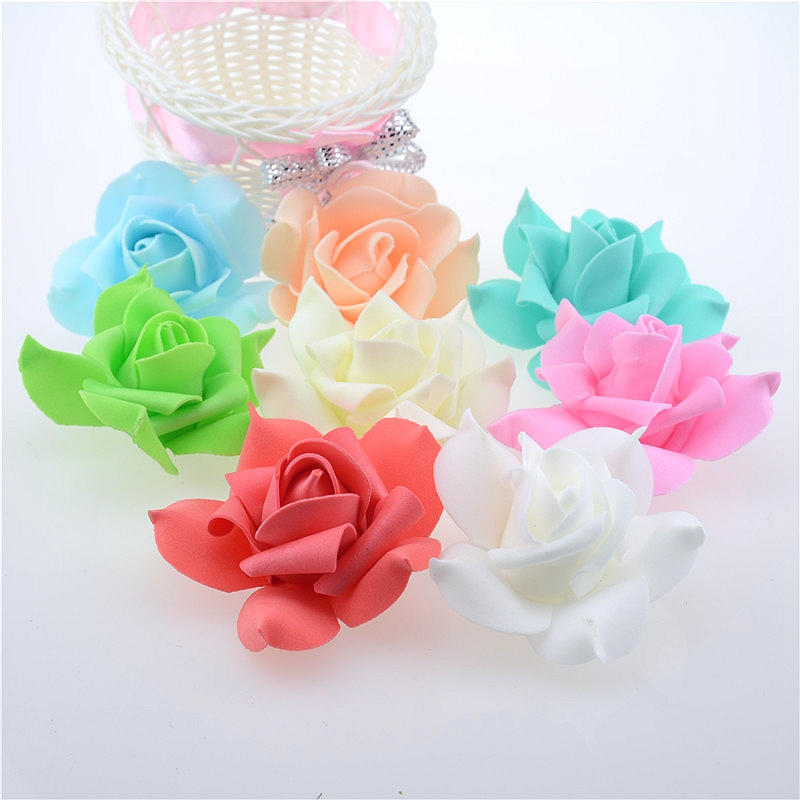 10pcs 7cm foam Rose Artificial Fancy Wedding Party Decorative Handmade DIY Wreath Scrapbooking Crafts Fake Flower Decoration