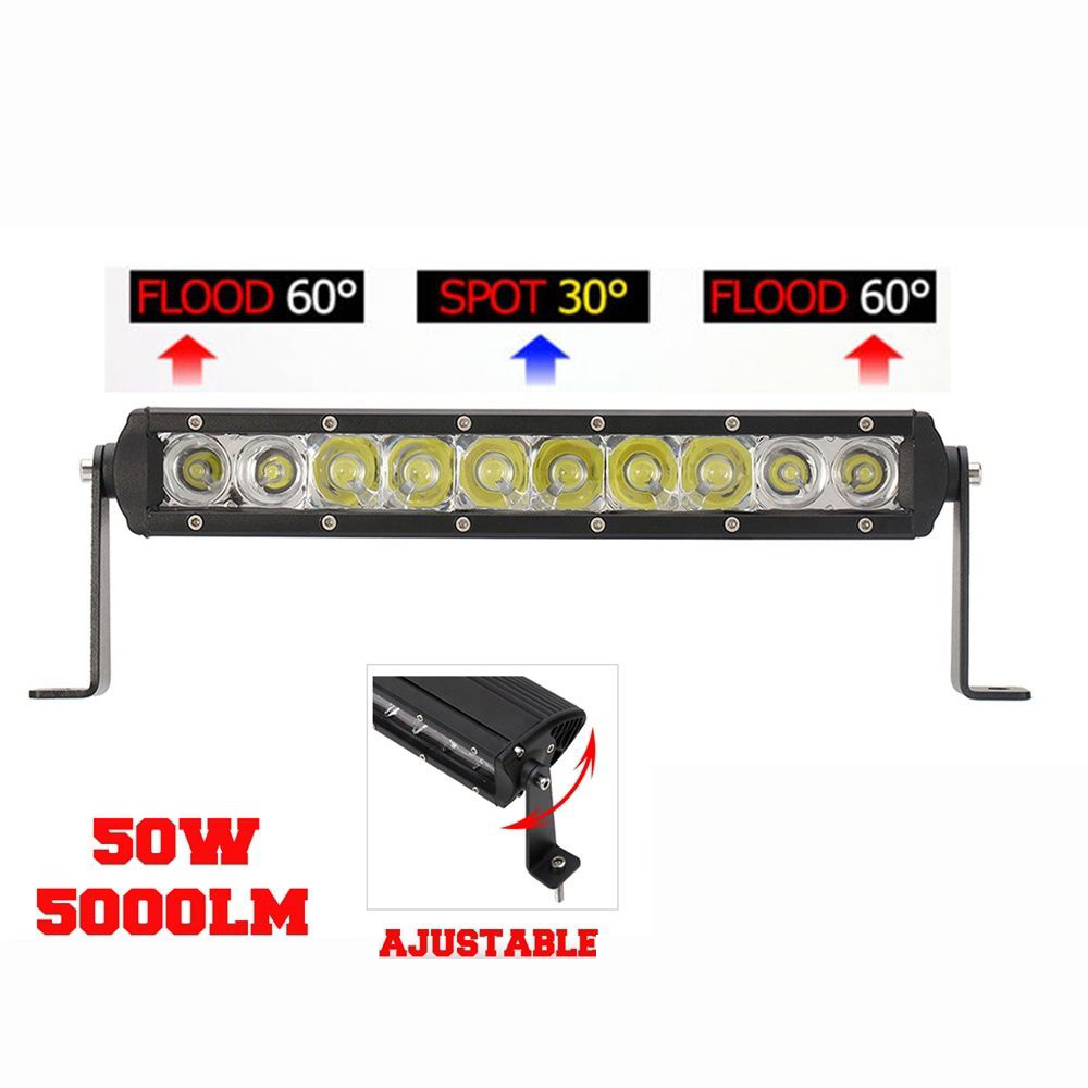 New 1x 50W With CREE LED Work Light Bar Spot Flood Combo Beam Offroad Auto Working Lamp 4X4 4WD SUV for Jeep Free Shipping dysc30 20w spot 20w 2000lm suv auto working light