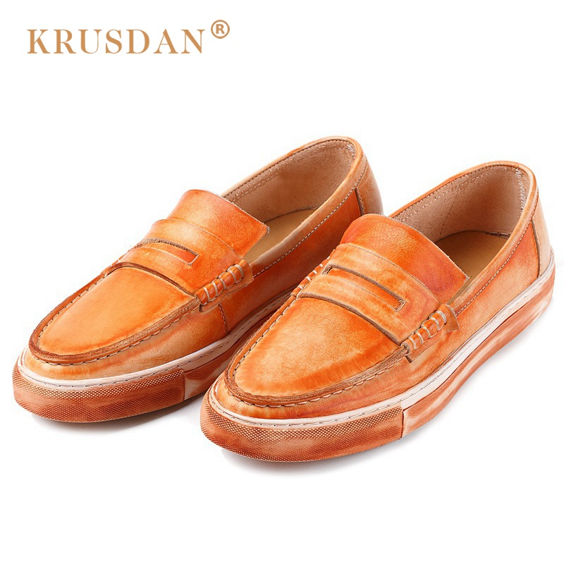 KRUSDAN New Vintage Flat Platform Man Casual Shoes Genuine Leather Handmade Loafers Round Toe Slip on Men's Boat Footwear NK60