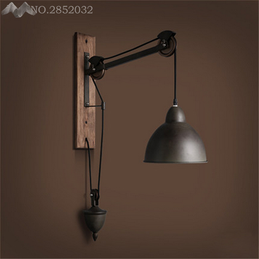 American Retro Nostalgia Industrial Style Iron Vintage Wall Lamp With Cord Pull Bar Light Bathroom Cafe Light Asile Light