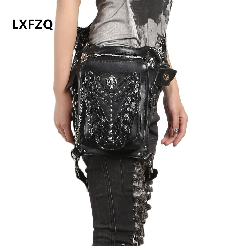 new waist bag women Steam punk Holster Protected Purse Shoulder carteras mujer Motor leg bag belt bag men package Outlaw Pack waist bag
