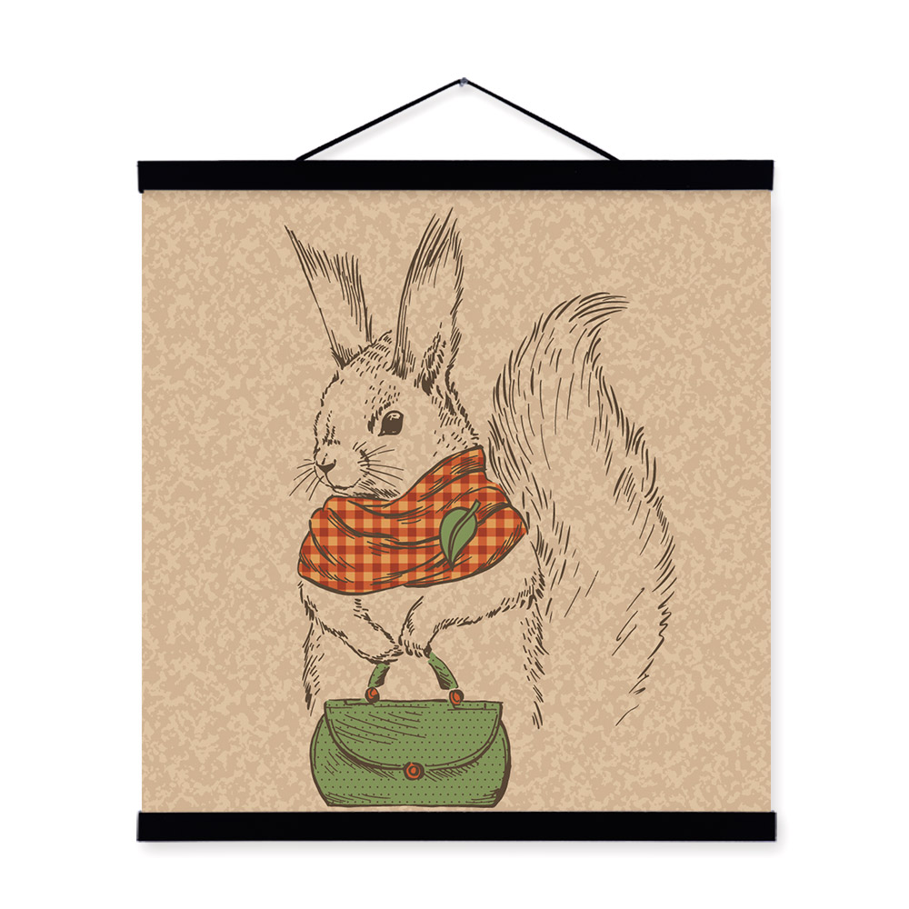 Squirrel Vintage Retro Animal Portrait <font><b>Hipster</b></font> Wooden Framed Canvas Painting Wall Art Print Picture Poster Woman Room <font><b>Home</b></font> <font><b>Decor</b></font>