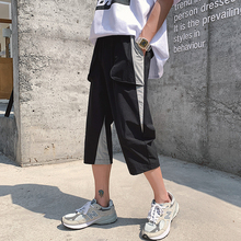 Streetwear Calf-Length Pants Printing Patchwork Mens Elastic Waist Black Green Gray