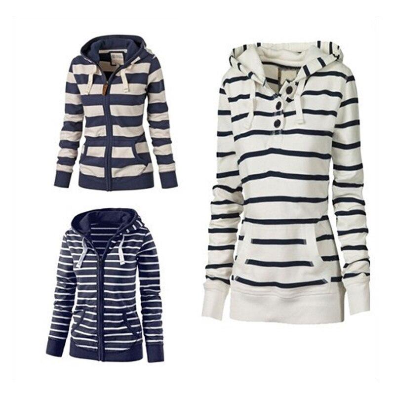 Big Yard Striped Hoodies Women Coats Casual Winter Ladies Sweatshirt 2019 Spring Long Sleeve Female Suits