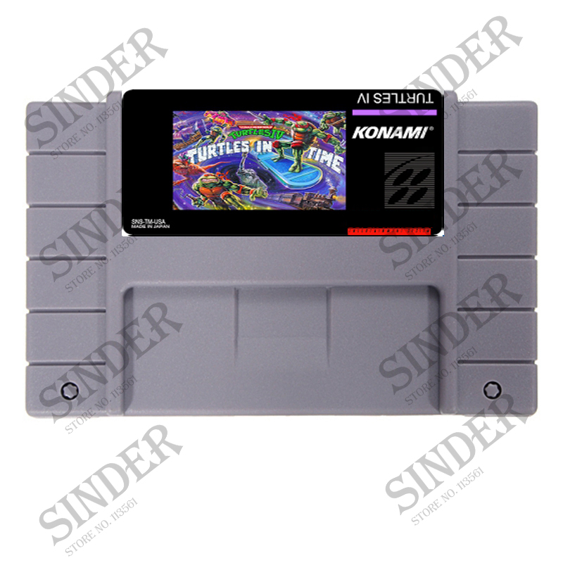 Turtles IV Turtles In Time 16 bit Super Game Card For PAL/ NTSC Game Player