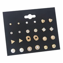Seanlov 12 Sets Of Earring Nails Alloy Pearl Zircon Corrugated Square Circular Triangle Earrings For Women Fashion Jewelry Gift