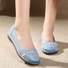 Women Flower Design Round Toe Flat Shoes Genuine Leather Slip on Loafers Flats Casual Leisure Doug Shoes недорго, оригинальная цена