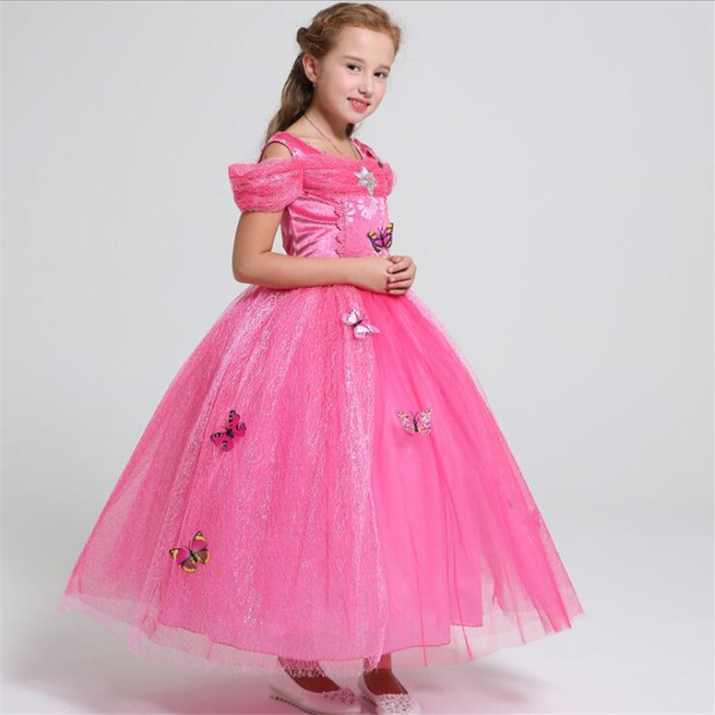 Berymond Children Girls Rose Red Elo Princess Dress Christmas Party Dress Lovely Lace Birthday Present Dresses 4-12Y Clothing girls europe and the united states children s wear red princess long sleeve princess dress child kids clothing red bow lace