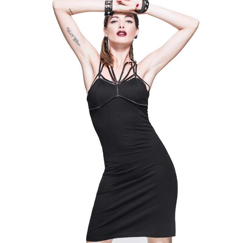 Punk noir bretelles jupes ajustement été et printemps gothique Sexy dame dos nu solide jupe longue jupes crayon