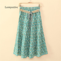 Leonyeetive 2017 Spring Summer Casual Floral Fashion Long Skirts Womens Cotton Linen Embroidery Girl Brand Style