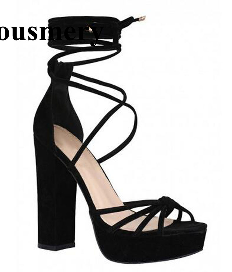 Hot Selling Women Fashion Lace-up Suede Leather Strap Cross High Platform Thick Heel Sandals Ankle Wrap High Heel Sandals 2017 summer hot selling red balck suede leather t strap high heel sandals charming detailed studs sequined high heel sandals