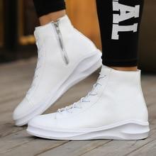 Otoño E Invierno de Los Hombres Zapatos de Ocio de Cuero de LA PU Alto-top de Encaje Moda Solid Negro de Gran Tamaño 44-46 de Los Estudiantes Blancos