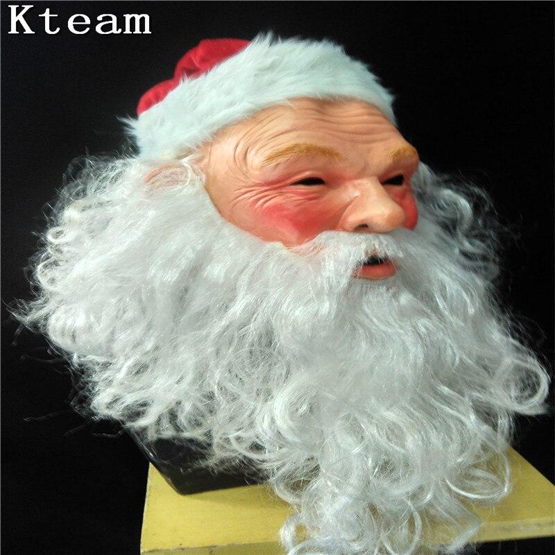 DHL Fast Halloween Party Cosplay Navidad Santa máscara de Santa Claus y ciervos látex máscara hombre viejo adulto cabeza completa disfraz con máscara Cosplay - 2
