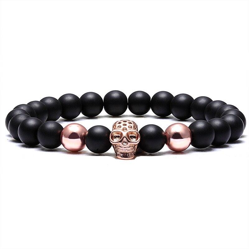 LIVVY Charm Stone Natural Pearl Men's Bracelet Punk CZ Head Skeleton Bracelet Men's Fashion Bead Bracelet