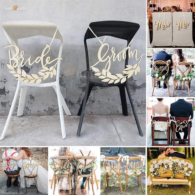 2pcs/set Rustic Wedding Sign Decor Ideas Chairs Hanging Signs ... on