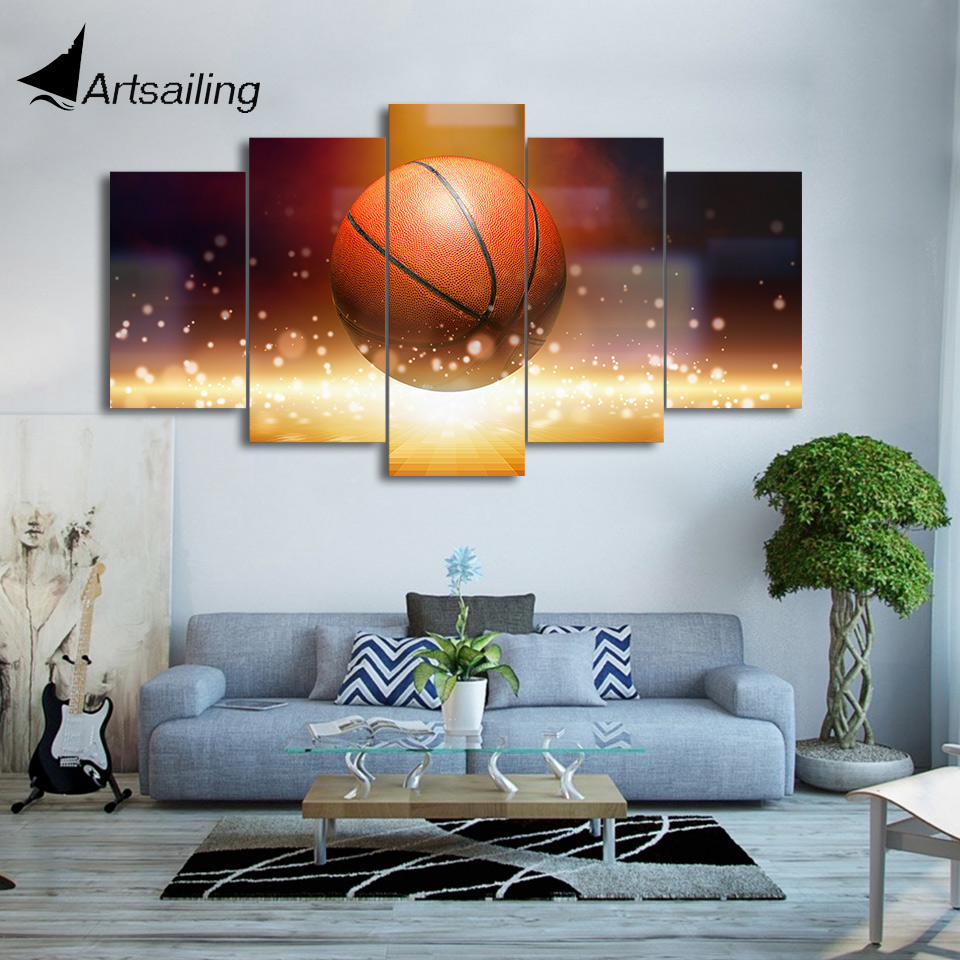 HD printed 5 piece canvas art Still life art basketball painting wall pictures for living room