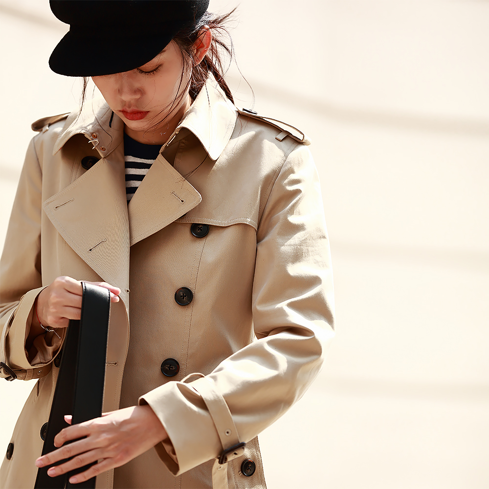 IRINAW905 New Arrival Autumn 2018 classic double breasted waterproof cotton long   trench   coat women