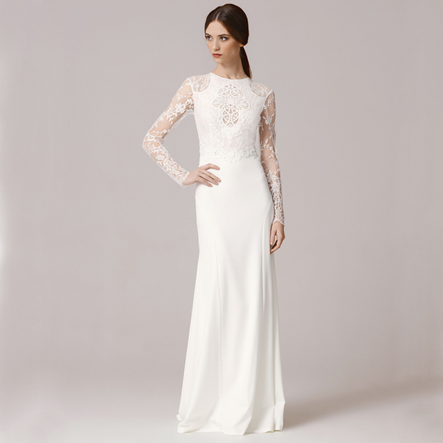 Vintage FW1243 Long Sleeve Lace Applique Sexy O Neck White Slim ...