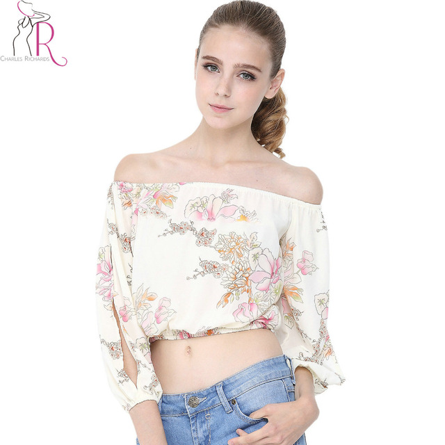 1c6d630073d US $24.6 |Beige Off Shoulder Floral Print Chiffon Crop Blouse Three Quarter  Slit Sleeve Summer Casual Elastic Waist Short Top Wear-in Blouses & Shirts  ...